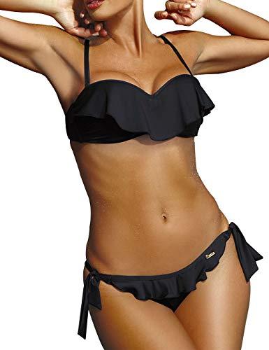 Traje de Baño para Mujer Volante en el Pecho Corbata Lado Inferior 2 Piezas Bikini Conjunto - Negro - Talla S