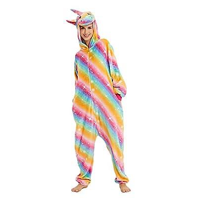 Kika Monkey Pijama disfraz de unicornio para adultos de franela, tipo mono