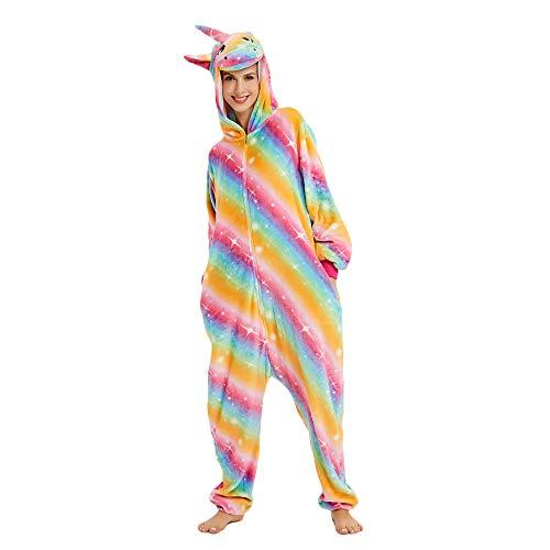 Mystery&Melody Süßes Einhorn Overalls Jumpsuits Pyjama Fleece Nachtwäsche Schlaflosigkeit Halloween Weihnachten Karneval Party Cosplay Kostüme für Unisex Kinder und Erwachsene (L, Regenbogen Einhorn)