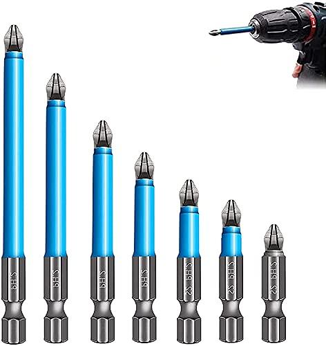 Broca magnética antideslizante, 7 piezas de extractor de tornillos antideslizante y juego de brocas de destornillador magnético, destornillador Phillips magnético Ph2, 25/50/65/70/90/125/150 mm perfe