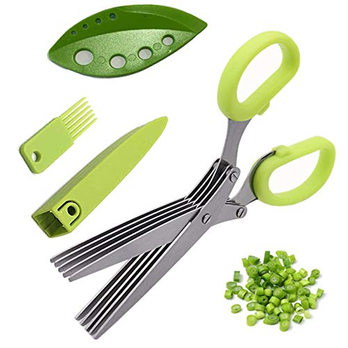 Herb Scissors Stripper Set,Multipurpose 5 Stainless Steel Blades,Safety Cover,Cleaning Comb,Herb Stripping Tool,4PCS Green Kitchen Cutting Shear Set for Chopping Basil Chive Parsley