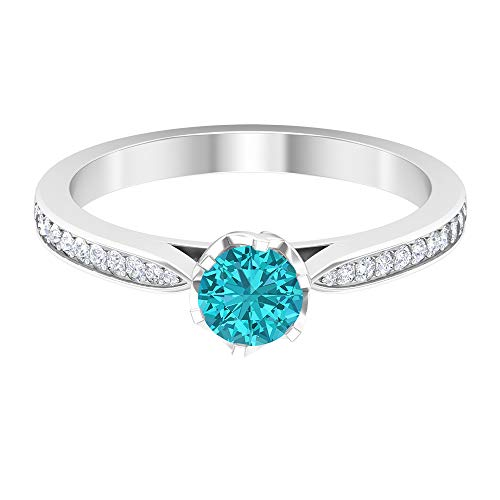 5 MM Lab Created Green Paraiba Tourmaline Ring, HI-SI Diamond Engagement Ring, Solitaire Ring with Side Stones (AAAA Quality), 18K White Gold, Size:UK P