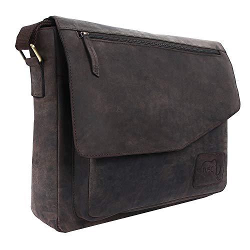 TUSC Triton Braun Leder Tasche Laptoptasche 133 Zoll Herren Umhangetasche Aktentasche Schultertasche fur Buro Notebook Messenger Bag Laptop iPad Grose 36x28x9 cm