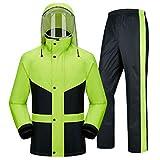 Ropa impermeable- Traje De Lluvia Para Hombres Ropa Impermeable (Chaqueta Para La Lluvia Y Pantalones De Lluvia Ajustados) Adultos Trabajo En El Exterior Moto Golf Pesca ( Color : Green , Size : L )