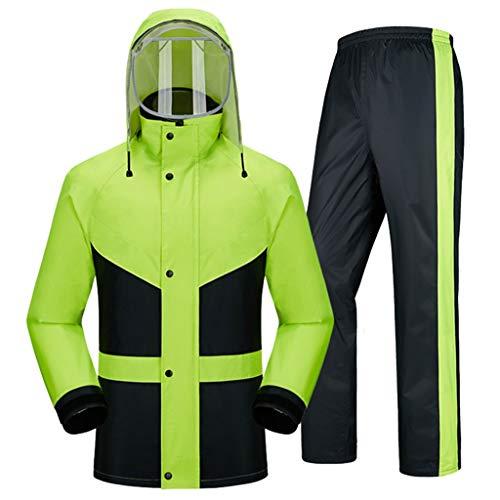 Ropa impermeable- Traje De Lluvia Para Hombres Ropa Impermeable (Chaqueta Para La Lluvia Y Pantalones De Lluvia Ajustados) Adultos Trabajo En El Exterior Moto Golf Pesca ( Color : Green , Size : XXL )
