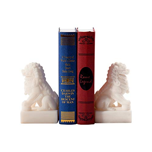 BIAOYU Sujetalibros modernos de león estatuas blancas resistentes para estanterías, soportes decorativos para libros y libros