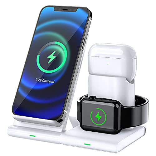 Hoidokly Kabellose Ladegerät, 3 in 1 Fast Wireless Charger für iPhone 12/12 Pro Max/11/11 Pro/XS/XR/X/8, kabellose Ladestation für iWatch 6/SE/5/4/3/2, Airpods pro/2/1(kein iWatch Ladekabel/Adapter)