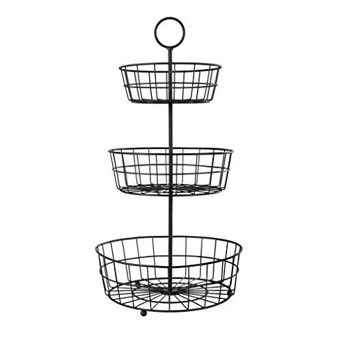HANZE 3-Tier Wire Fruit Basket Bowl, Detachable Vegetable Bread Countertop Display Storage Stand Rack for Kitchen Bathroom Hanging Organize, Brown