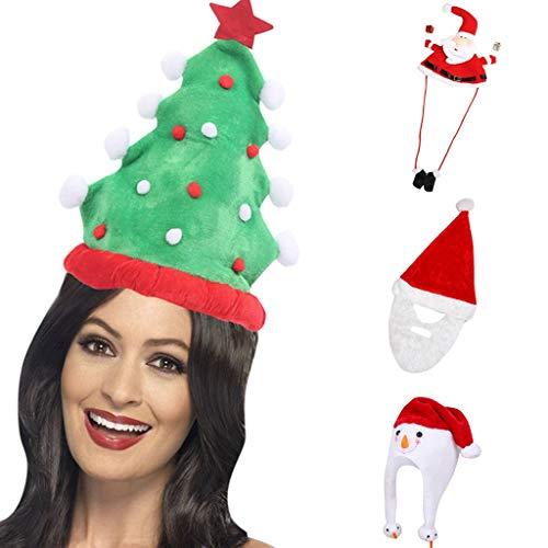 Dasongff Weihnachtsbaum Hut für Weihnachten und Weihnachtsfeier Weihnachten Haarreif Weihnachtsbaum Santa Haarschmuck Haarband Weihnachtsmütze Weihnachtsmann Mütze