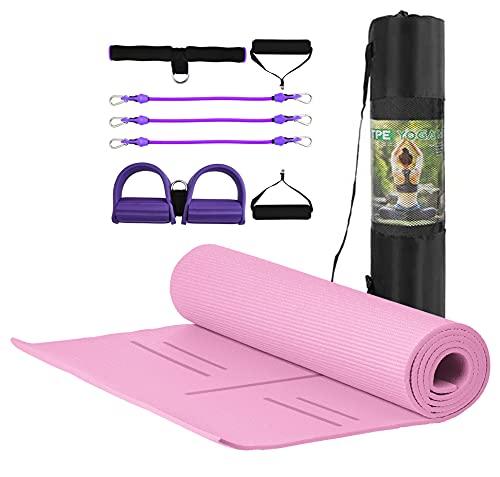 MJ Fitness – Esterilla antideslizante para yoga, fitness, de TPE ecológico y acolchado, 183 x 80 x 8 mm, con bolsa y herramienta elástica multiusos para gimnasia y gimnasio (rosa)