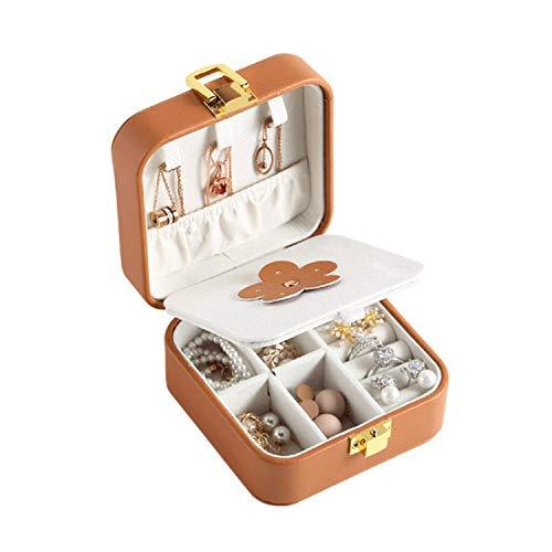 GDglobal - Joyero pequeño de piel sintética portátil con espejo para anillos, pendientes, pulseras y collares, ideal para niñas y mujeres