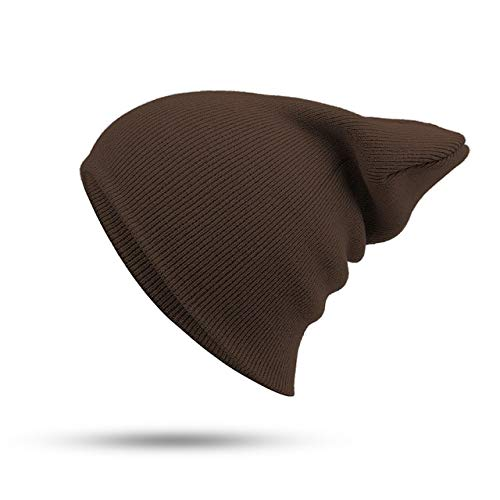 Sombrero Mujer Unisex Mezcla de algodón sólido cálido Suave Hip Hop Sombrero de Punto Gorro de Invierno para Hombre Skullies Beanie Girl-Coffee