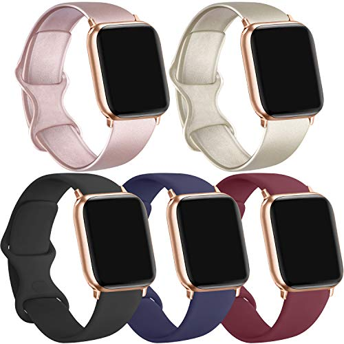 [5 Pack] Silicone Bands Compatible for Apple Watch Bands 38mm 40mm, Sport Band Compatible for iWatch Series 6 5 4 3 SE(Black/Rose gold/Gold/Navy blue/Wine red, 38mm/40mm-S/M)