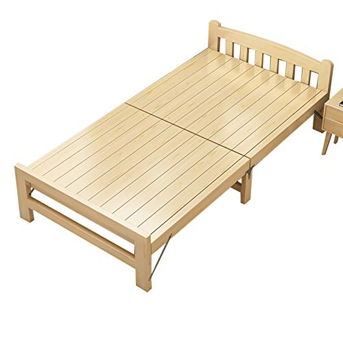 Cama plegable de madera maciza de montaje cero, Con cabecero y pie de cama Estructura de cama plataforma de madera, Cama infantil Cama de acompañante de hospital, Cama individual portátil de oficin