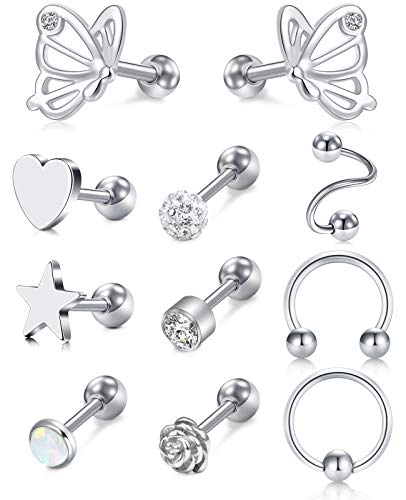 Briana Williams 11pcs Tragus Helix Stud Bars Cartilage Earrings Surgical Steel 6mm 16G Daith Rook Conch Ring Ear Piecing Jewellery