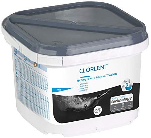 Gre 76086 Cloro Lento, fórmula sin bórico, Pastillas 250 gr, 4 kg, Transparente, 1 x 4 kg