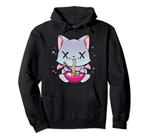 Kawaii Japanese Anime Cat Ramen Hoodie - Creepy Pastel Goth
