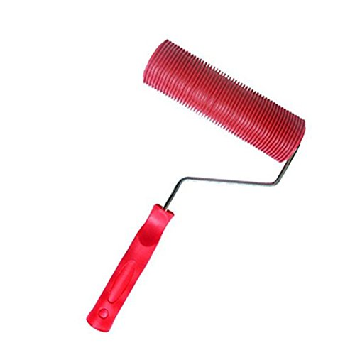 PIXNOR Painting Roller, Empaistic Pattern Painting Roller with Handle (Red)