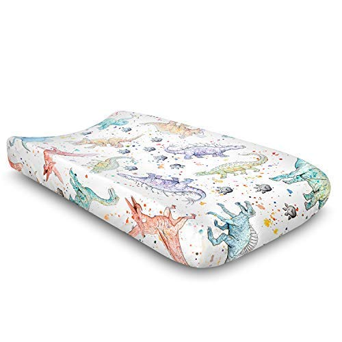 Watercolor Dinosaur Jersey Knit Changing Pad Cover | Extra Soft and Stretchy