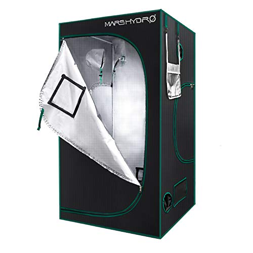 "MARS HYDRO Grow Tent 4'x4' 1680D Canvas 100% Reflective Mylar Grow Tents with Removable Floor Tray for Indoor Hydroponic Plant Growing Room 48""x48""x80"" for TSW2000/2xSP3000/2xTSL2000"