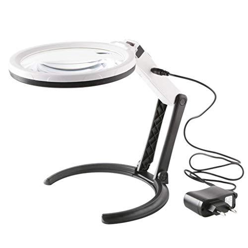 YEESEU Cristal de Escritorio, HD 10X con luz LED Recargable, Adecuado Compatible with los Ancianos Lectura de periódicos, mapas Herramienta de Lectura