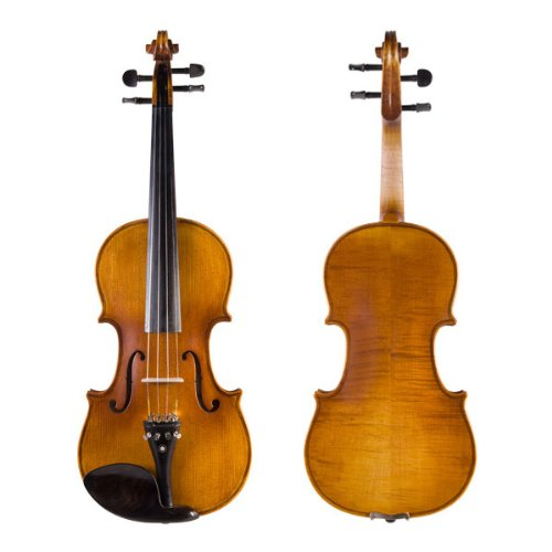 Cecilio 1/2 CVN-500 Ebony Fitted Solid Wood Flamed Violin with Antique Finish