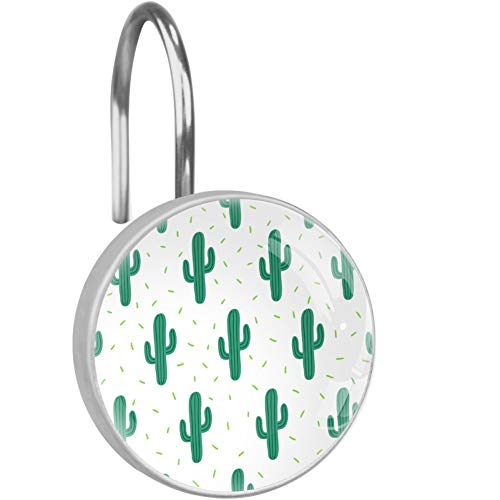 XJJ&USC Green Cactus Shower Curtain Hooks,Set of 12 Shower Curtain Rings - Shower Hooks for Curtain Shower Rings