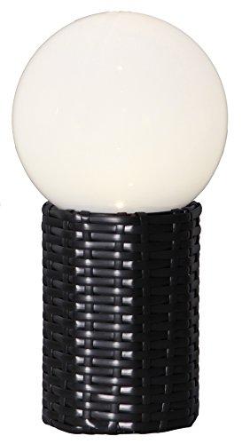 LED-Solar-Kugel mit Sockel in Rattanoptik, Farbe: weiss / schwarz, ca. 15 x 28cm, 1 warm white LED, mit Solarpanel, incl. Akku, Outdoor