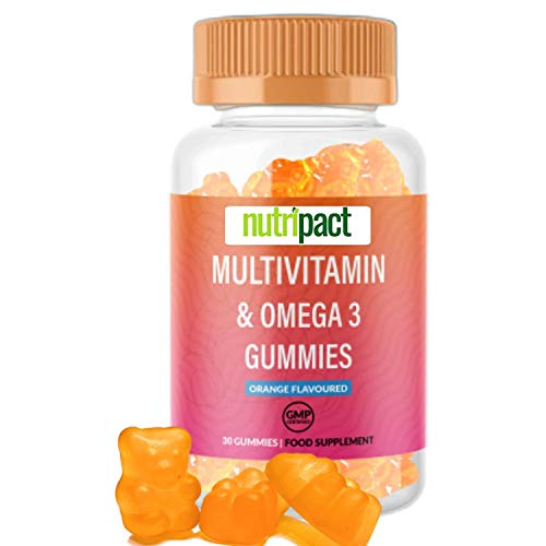 Chewable Multivitamin Gummies for Kids & Adults - Orange Flavoured - 30 Count - Essential Multivitamins & Omega 3 Supplement, with Vitamin C, A, B, D & Vitamin E