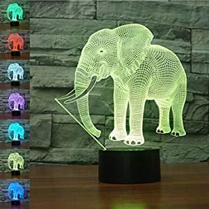 Lámpara de ilusión 3D, decoración de juguetes de elefante Luz de noche LED 7 colores Control táctil Lámpara de decoración de fiesta alimentada por USB, Visual 3D para regalos de cumpleaños de Navidad