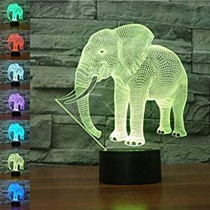 Anano 3D Illusion Lamp, Elephant Gifts Toys Decor LED Night Light Lamp 7 Colors Touch Control USB Powered Party Decoration Lamp,3D Visual Lamp for Home Décor Xmas Birthday Gifts