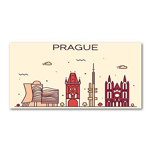 Tulup Acrylglas - Wandkunst - Bild auf Acrylglas Deko Wandbild hinter Kunststoff/Acrylglas Bild - Dekorative Wand für Küche und Wohnzimmer 120 x60 cm - Landkarten und Flaggen - Prag Gebäude - Mehrfarbig