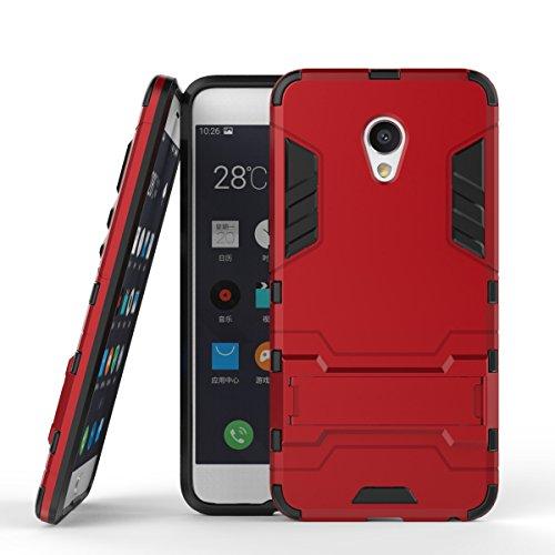 pinlu Hülle Für Meizu MX6 Raffinierte Kombination aus Rutschfestem TPU- Und Gehärtetem Polycarbonat Hülle 2-Lagen Hybrid Hard Cover Schutzhülle Rot