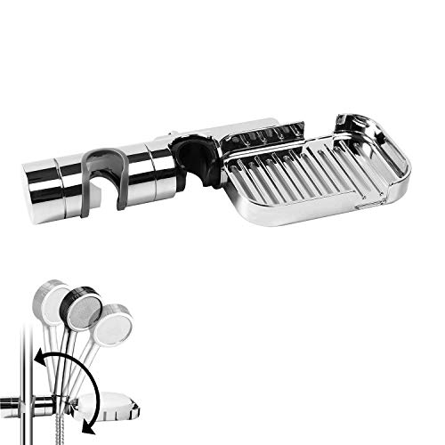 Duschkopf Halterung mit Seifenschale Ohne Bohren SIMGOTT 18-25 mm Verstellbar Brausehalter Duschhalterung Seifenkiste Für Handbrause Duschkopf Badezimmer, 360° drehbar, ABS Grade Kunststoff, Verchromt