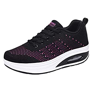 Women Mesh Sport Shoes Ladies Casual Outdoor Air Cushion Thick-Soled Lace-Up Runing Sneaker (🍒Black, 6.5-7-Women-US)