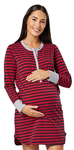 HAPPY MAMA. Damen Umstands Streifen Nachthemd mit Stillfunktion Langarm. 589p (Rot & Marine, 38-40, M)