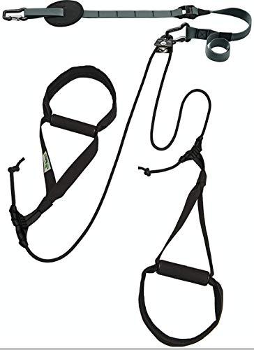 eaglefit Sling-Trainer Allround, Fitnessgerät, Schlingentrainer inkl. Umlenkrolle, Längenverstellung 90-310 cm, für Profis & Beginner, achat grau