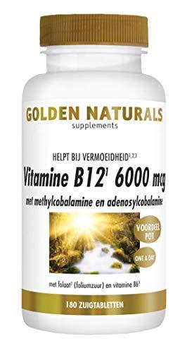 Golden Naturals Vitamine B12 6000 mcg (180 veganistische zuigtabletten)