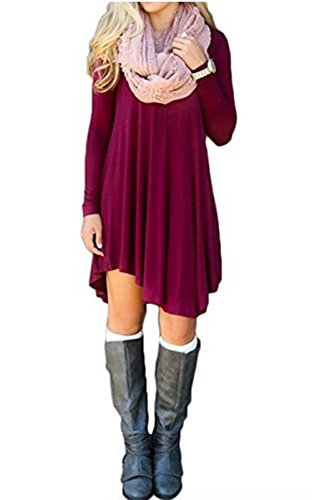 NuoReel Women's Long Sleeve Casual Loose T-Shirt Dress US 8-10=Tag Size M Size Wine Red