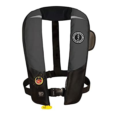 Mustang Survival Corp Inflatable PFD with HIT (Auto Hydrostatic) and Bright Fluorescent Inflation Cell, Gray/Black