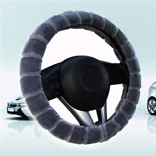 CHENDX Cubierta del Volante del automóvil Invierno Cálido Peluche Trenzado Universal en el Volante del Coche de la Rueda del automóvil 38 cm (Color : Gray, Size : Free)
