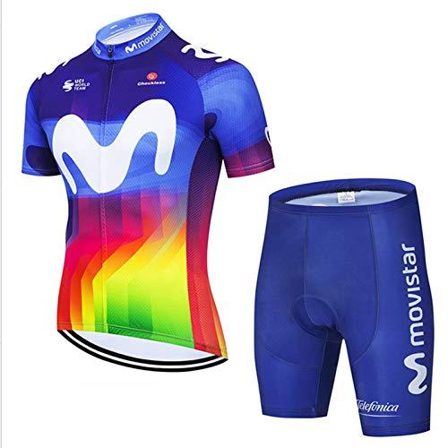 OJKYK Hombres Jersey + Pantalones Cortos Mangas Cortas de Ciclismo Ropa Maillot Transpirable para Deportes al Aire Libre Ciclo Bicicleta