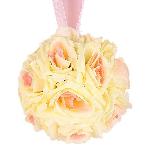 LVYIMAO Hochzeits-Blumen Rosenkugeln, 15 cm, künstliche Blumen, Seidenball für Brautsträuße für Zuhause, Garten, Party-Dekoration champagnerfarben