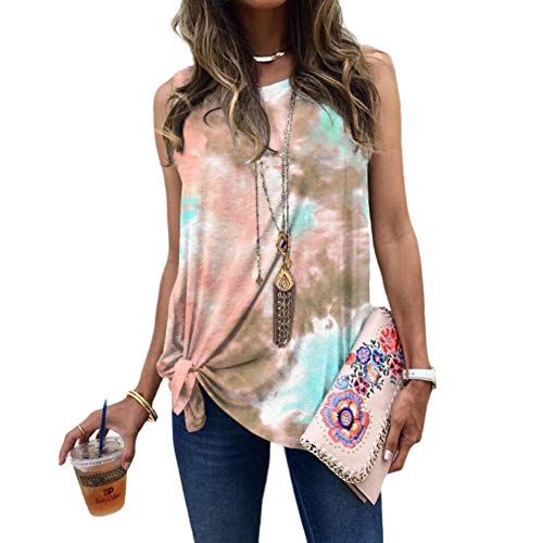 N /A Womens Tie-dye Holiday Sleeveless Tank Tops Cami Summer Casual Loose Blouse Vest (Khaki, XL)