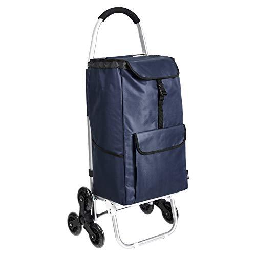 Amazon Basics - Carrito de la compra con 6 ruedas y asas de aluminio, 50 litros, color azul marino