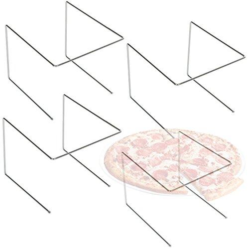 MyGift Set of 4 Silver Metal Pizza Pan Riser Stands, Tabletop Food Platter Tray Display Racks
