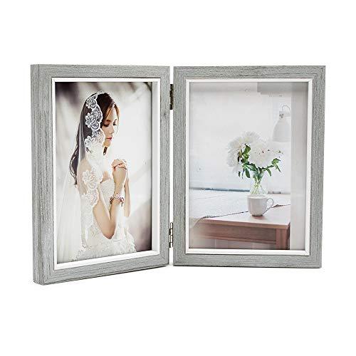 Afuly Grau Holz Bilderrahmen 13x18 Doppel Collage Fotorahmen 2 Bilder Weiß Shabby Family Geschenke
