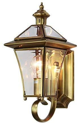 Atten Aplique metálico lámpara de Pared Exterior IP55 Resistente al Agua jardín de Oro y Cobre de Cobre de Pared lámpara de Pared de la terraza decoración terraza Porche,18 * 37cm