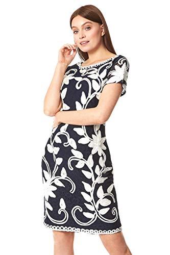 Roman Originals vestido de cinta de contraste para mujer, cuello redondo, sin mangas, largo hasta la rodilla, bordado pequeño vestido negro