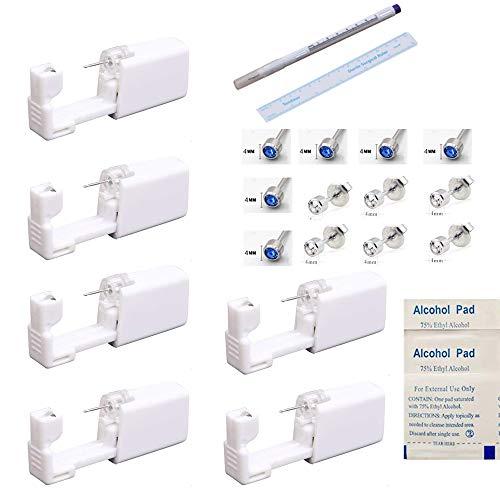 Einweg-Ohr-Piercingpistole mit Ohrsteckern, keine Schmerzen, für Mädchen, Damen, Herren, Rubin und Hellblau, 6 Stück